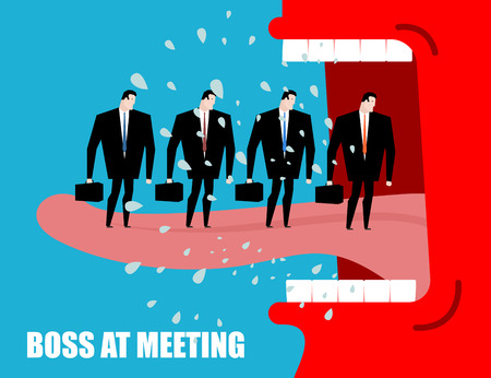 Boss at meeting scolds subordinates. Angry chief yelling at employees. Red director shouting at managers. Flying drooling. Aggressive Head screams. Open mouth and teeth Illustration