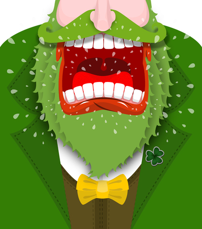 clover face: Leprechaun shout. Angry dwarf shout. Scary Gnome green beard shouts. grandfather in green coat. Open your mouth and teeth. Illustration for St. Patricks Day. National Holiday in Ireland