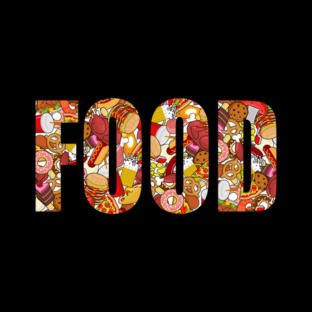 baked potatoes: Food typography. Letters of feed. Lettering of meat. Pizza and taco. French fries and hamburger. Hotdog and cookies. Baked turkey and watermelon. Pork and cake. Donuts and dumplings