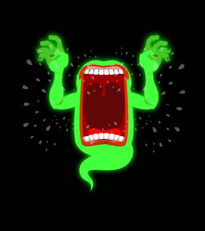 horrible: Scary ghost shouts. Horrible wraith frightening screams. Green monster with his mouth open. spook Wild howl. Mysterious phantom. Angry hungry spirit