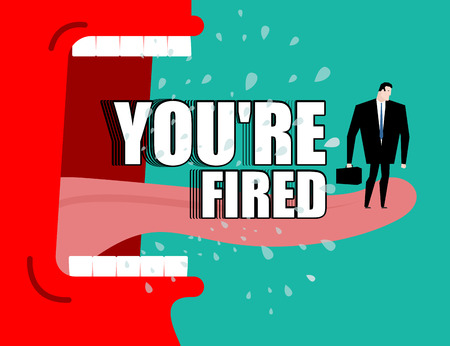 Dismissal poster. You're fired. Red boss shouts. Angry director yells fly saliva  イラスト・ベクター素材