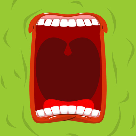 howl: Green monster with his mouth open. Scary ghost shouts. Horrible wraith frightening screams.  spook Wild howl. Mysterious phantom. Angry hungry spirit