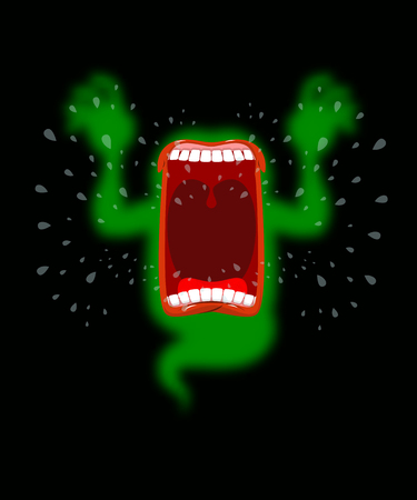 howl: Scary ghost shouts. Horrible wraith frightening screams. Green monster with his mouth open. spook Wild howl. Mysterious phantom. Angry hungry spirit
