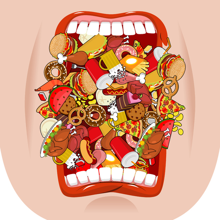 Widely open mouth lot of food. Absorption of feed. Eat many of meal. Very hungry. Pizza and tacos. French fries and hamburger. Hotdog and cookies. Baked turkey and watermelon. Pork and cake. Donuts and dumplings