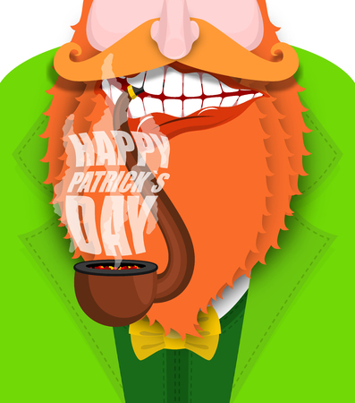 Leprechaun smokes pipe. Patricks Day. Smoking set brier and Smoke, embers. Red beard. Open your mouth and teeth. National Holiday in Ireland