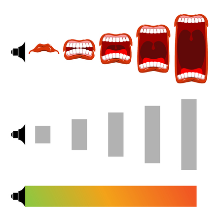 Regolare il volume. gridare livello. urlo Stage. bocca aperta con lingua e denti. Le variazioni di livello sonoro. Ruotando la manopola di controllo. audio metro Archivio Fotografico - 66132883