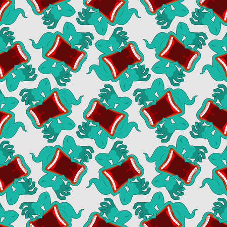 steam mouth: Ghost seamless pattern. Terrible howling wraith background. Monster scares ornament. spook with open mouth screams. Mysterious phantom texture Illustration