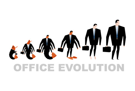 marine crustaceans: Office Evolution. Office plankton turns into boss. Shrimp in human development. From manager to Director. Marine crustaceans in business suit. Business illustration Illustration
