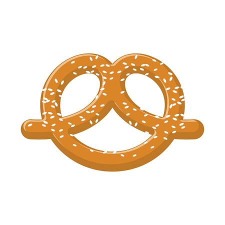 Pretzel with sesame seeds isolated. German national food. Snack to beer in Germany Illustration