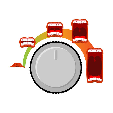 volume knob: Adjust volume. shout level. Stage ora. Open mouth with tongue and teeth. Changes in sound level. Turning control knob. meter audio Illustration