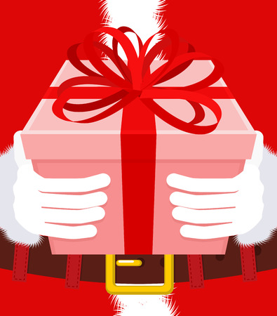 Gift on Christmas. Santa gloves and box with bow. Red tape and yellow box. Illustration for new year