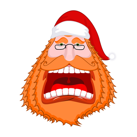 Santa Claus portrat with Big red beard and cap. Crazy red-haired Christmas grandfather yelling. Xmas template design. New Year illustration