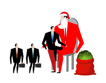 Christmas bonus. Boss Santa Claus congratulates workers. Red bag with money. Christmas in office. New Year at work. Good Director and Managers  Illustration