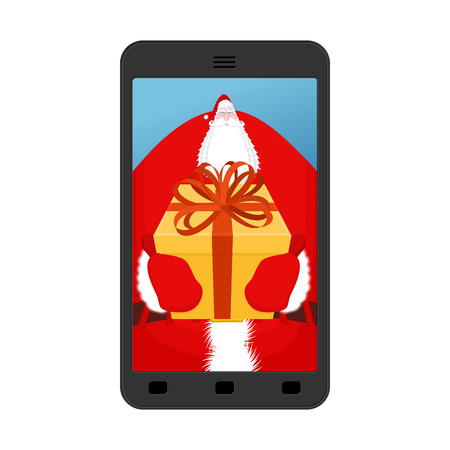 Christmas Photo Santa. Photographing your smartphone. Claus give gift Gloves and box with bow. Illustration for new year Illustration