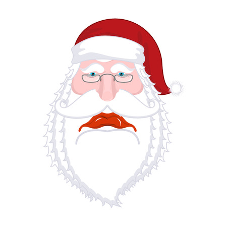 Sad Santa Claus. dull Christmas grandfather. sorrowful Santa with beard in red cap. Illustration for new year. Xmas template design Illustration