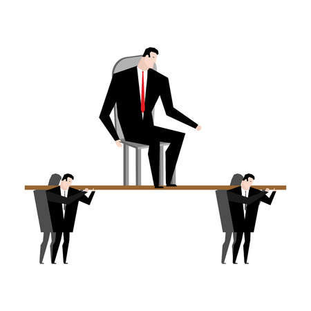 Office clerk carrying boss. Corporate ethics. Workers are head. Managers carry chief. Worship supervisor. Business career