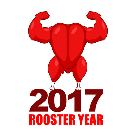 Red rooster strong. Red cock Symbol of new year. Powerful baked turkey with big biceps. Game bodybuilder. Fitness food for holiday. Sports fried chicken
