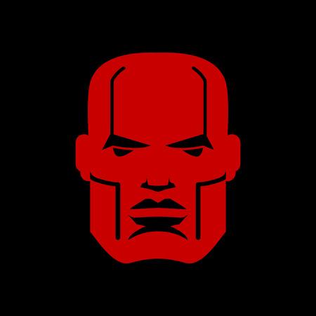 emblem red: Serious face logo. Man head emblem. Red manly mask