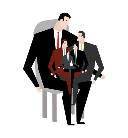 Familieleden. Zakelijk familielid. Zakelijke familie. generatie van managers. genus zakenman. Zittend op schoot van chef. Baas en managers.