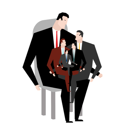 relatives: Office relatives. Corporate kinsfolk. Business family. generation of managers. genus businessman. Sitting on lap of chief. Boss and managers.  Illustration