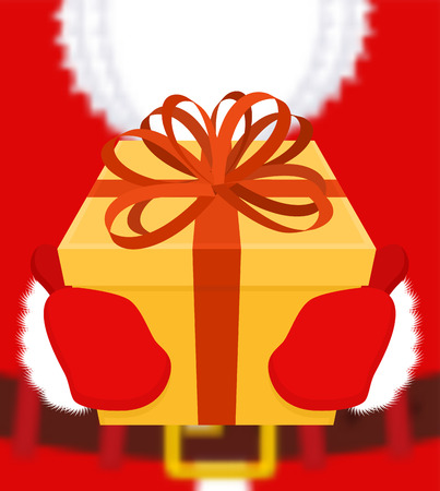 Santa gives gift. Christmas present. Box with bow. Red ribbon and yellow case. holiday Illustration for new year. Xmas design template  Illustration