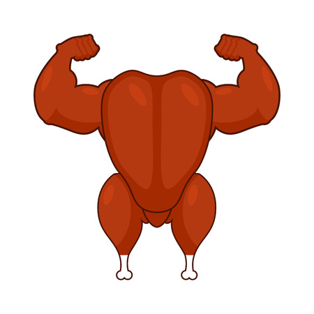 fried turkey bodybuilder. Baked chicken fitness model. Speech athletes cartoon style. fowl in shorts. Food Bodybuilding   Ilustracja