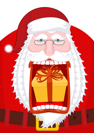 belch: Santa Claus burping gift. Open mouth Box burp. Crazy Christmas grandfather
