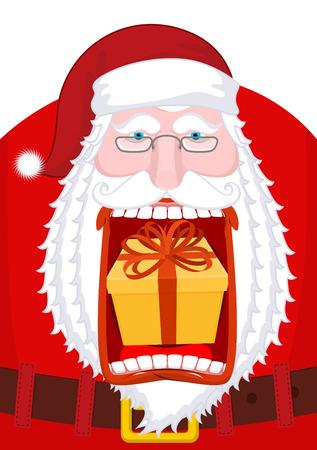 burp: Santa Claus burping gift. Open mouth Box burp. Crazy Christmas grandfather