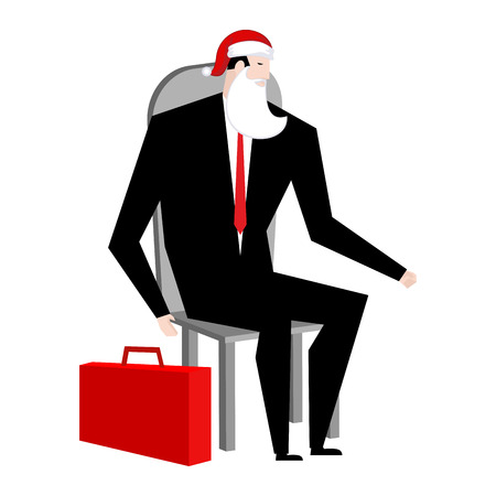 Boss Santa Claus False beard and red cap. Businessman in festive mask. Man in business suit with suitcase. Christmas in office. corporate New Year at work Illustration