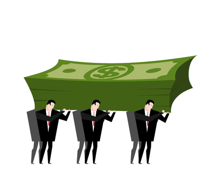Businessman carrying pile money. Business man walking with Cash. Managers generate revenue. Office clerk and dollar