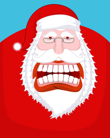 Santa Claus wild grin. Aggressive old man. Open your mouth and teeth. Scary grandfather yelling. Xmas design template. Character for Christmas and New Year