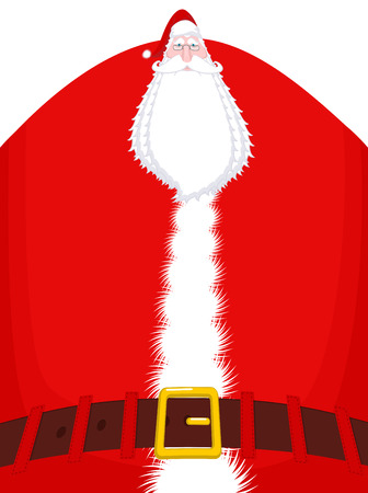 Santa Claus high and belt. Huge Christmas grandfather. Enormous Santa with beard in red suit. Illustration for new year  Illustration