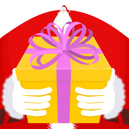 gift giving: Christmas Gift giving. Large Santa gloves and box with bow. Purple tape and yellow box. Illustration for new year