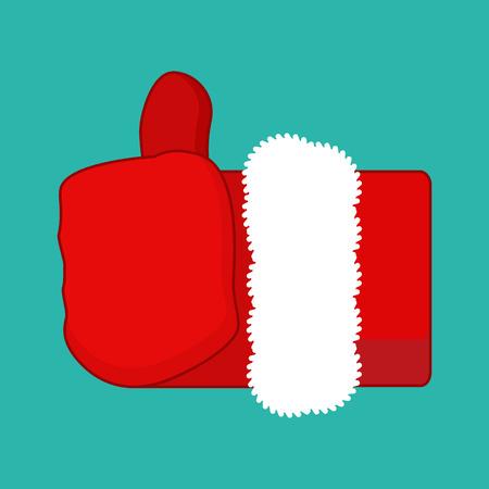 Christmas Like Santa Claus. Thumb up. Symbol all right. success gesture.