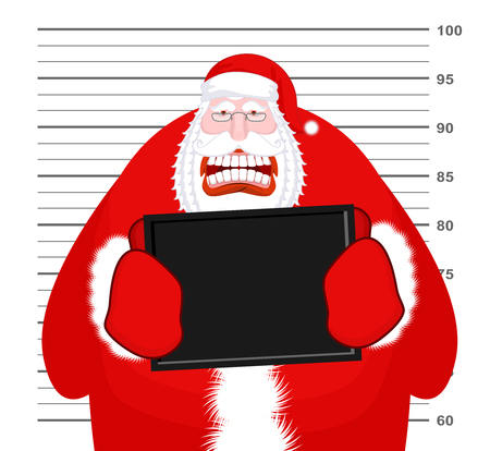 incarcerated: Mugshot Santa Claus at Police Department. Mug shot Christmas. Arrested Bad Santa holding black plate. Grandpa Photo Prisoner in custody for new year. offender portrait