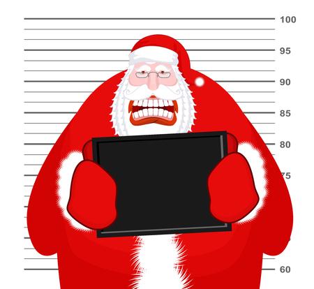 Mugshot Santa Claus at Police Department. Mug shot Christmas. Arrested Bad Santa holding black plate. Grandpa Photo Prisoner in custody for new year. offender portrait