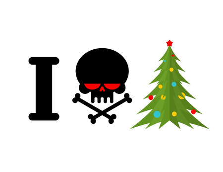 hatred: I hate Christmas. Skull and bones symbol of hatred and Christmas tree. New year sign for bully