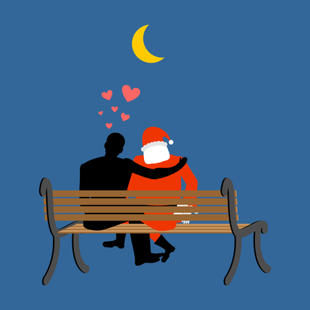 date night: Christmas Lover. Santa Claus and man looking at moon. Date night. Man and Santa sitting on bench. Month in night dark sky. Romantic New Year illustration
