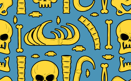 terrible: Bones seamless pattern. Skeleton background. Skull ornament. Anatomy texture. Hell pattern. Skull and spine. jaw and pelvis. Halloween template. Religion design