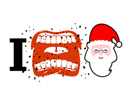 cursing: I hate christmas. shout symbol of hatred face Santa Claus. Aggressive Open mouth. Yelling and cursing