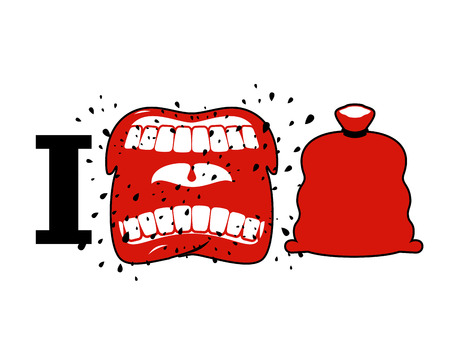 cursing: I hate Christmas. Wicked shout symbol of hatred and Santa bag. Aggressive Open mouth. Yelling and cursing. I do not like new year
