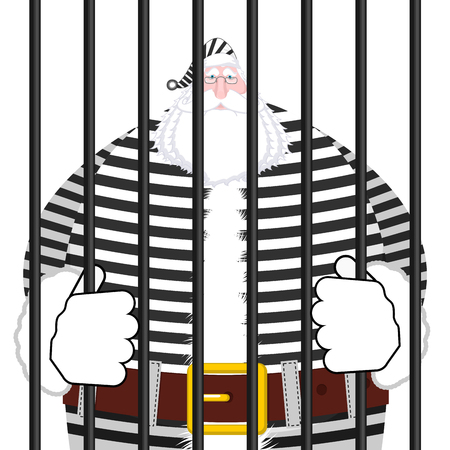 canceled: Santa Claus prison in striped robe. Window in prison with bars. Bad Santa criminal. New year is canceled. Christmas Jail Illustration