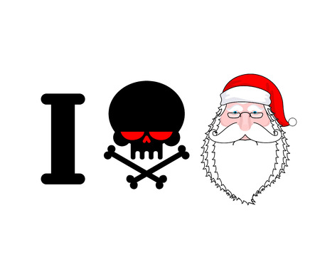 hatred: I hate Santa. Skull and bones symbol of hatred and face Santa. Christmas illustration for hooligan  Illustration