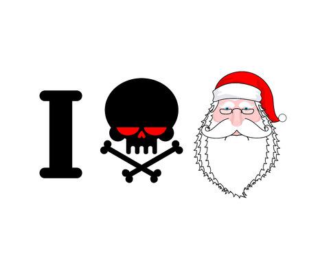 hooligan: I hate Santa. Skull and bones symbol of hatred and face Santa. Christmas illustration for hooligan  Illustration