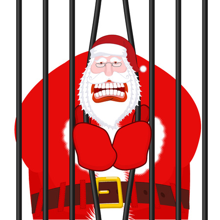 Santa Claus gangster. Christmas in prison. Window in prison with bars. Bad Santa prisoner criminal. New year is canceled. Jail break. Illustration
