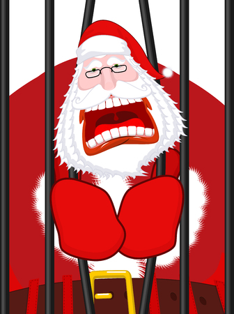 incarcerated: Santa Claus prisoner. Christmas in prison. Window in prison with bars. Bad Santa criminal. New year is canceled. Jail break