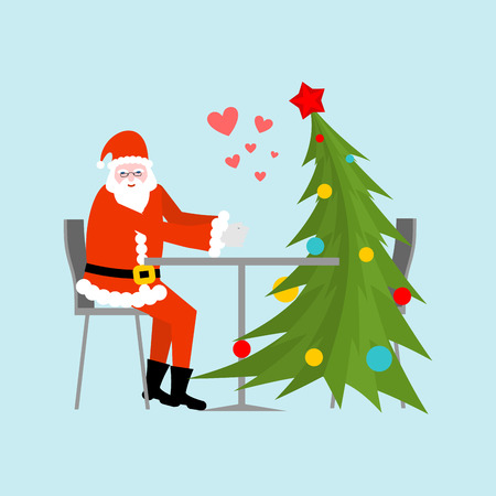 dinner date: Santa Claus and Christmas tree in cafe. Christmas dinner. Old man in red suit and fur-tree new year date.