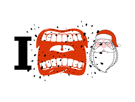 hatred: I hate Santa. shout symbol of hatred face Santa Claus. Aggressive Open mouth. Yelling and cursing