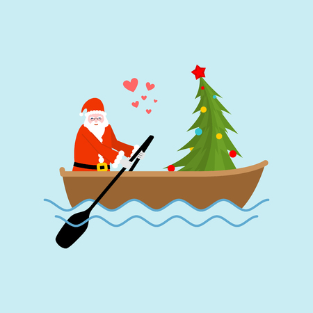 Santa Claus and Christmas tree on boat ride. Christmas riding on ondola on lake. Old man in red suit and fur-tree new year date.