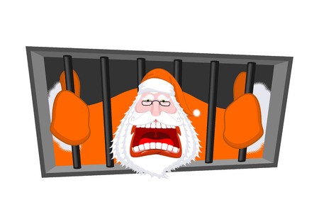 Santa Claus orange prisoner clothing. Christmas in prison. Window in prison with bars. Bad Santa criminal. New year is canceled. Jail break